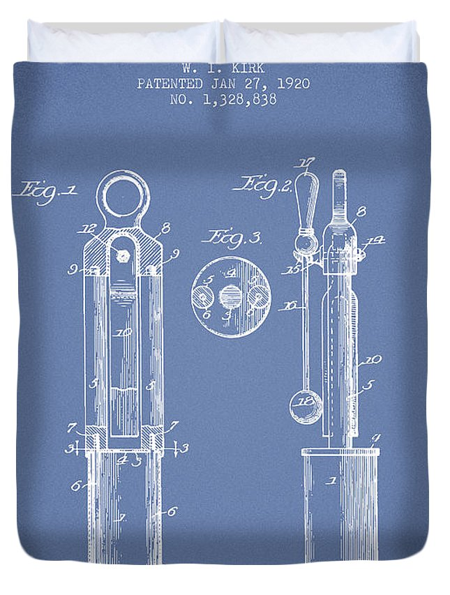 Tuning Fork Duvet Cover featuring the digital art 1920 Tuning Fork Patent - Light Blue by Aged Pixel