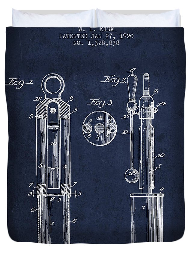 Tuning Fork Duvet Cover featuring the digital art 1920 Tuning Fork Patent - Navy Blue by Aged Pixel