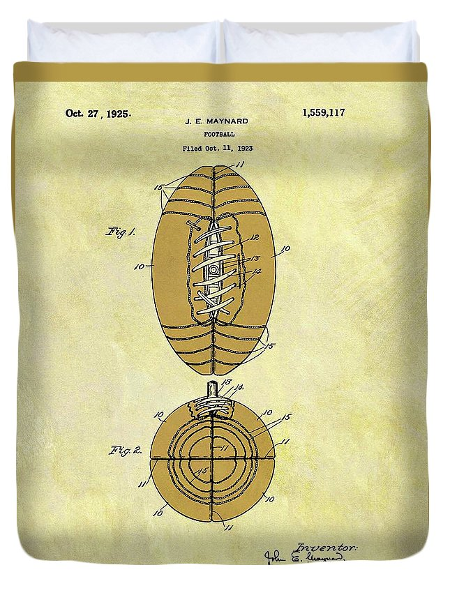 1925 Football Patent Duvet Cover featuring the drawing 1925 Football Patent by Dan Sproul