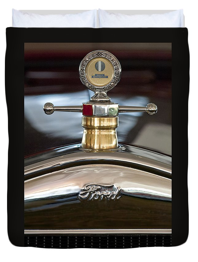 1927 Ford T Roadster Duvet Cover featuring the photograph 1927 Ford T Roadster Hood Ornament by Jill Reger