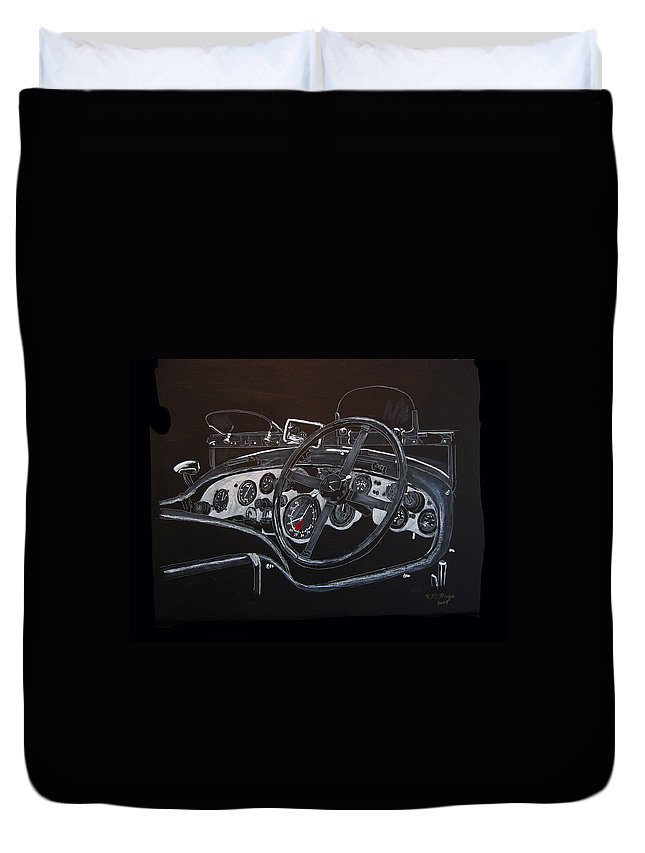 Bentley Duvet Cover featuring the painting 1928 Bentley Dash by Richard Le Page
