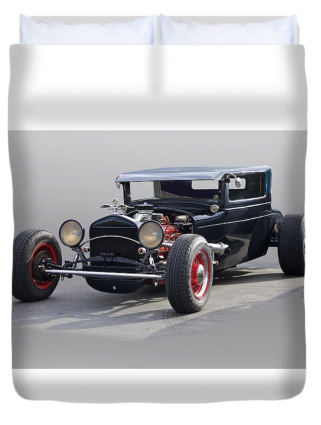 Auto Duvet Cover featuring the photograph 1928 Chrysler Coupe 'studio' II by Dave Koontz