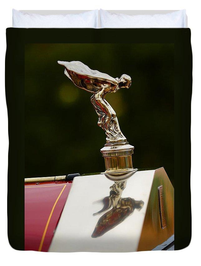 Classic Car Duvet Cover featuring the photograph 1928 Rolls-royce Phantom 1 Hood Ornament by Jill Reger