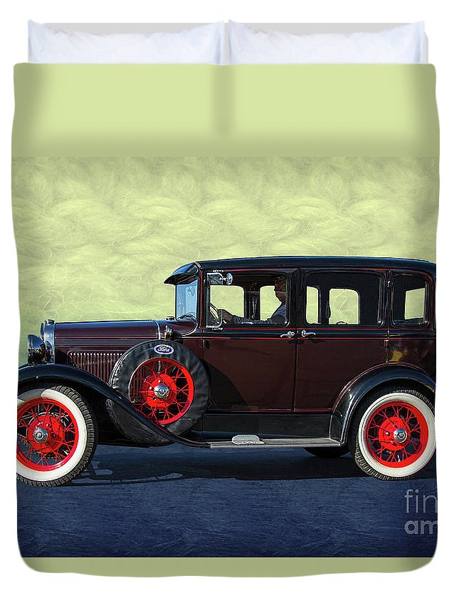 Ford Duvet Cover featuring the photograph Historical Ford 4 Door Sedan by Nick Gray