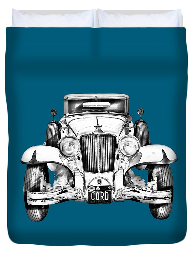 Vintage Duvet Cover featuring the photograph 1929 Cord 6-29 Cabriolet Antique Car Illustration by Keith Webber Jr