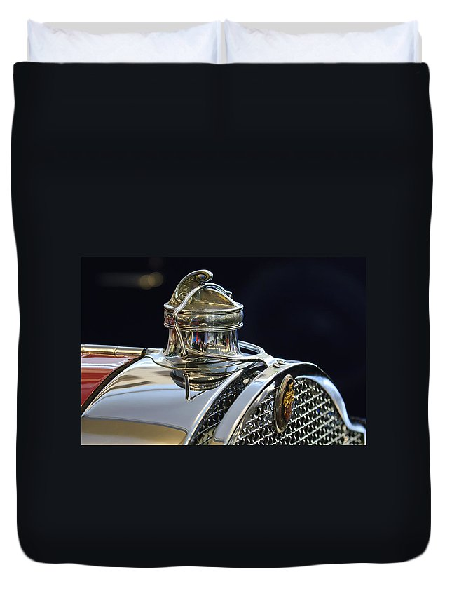 1929 Packard 8 Convertible Coupe Duvet Cover featuring the photograph 1929 Packard 8 Hood Ornament 3 by Jill Reger