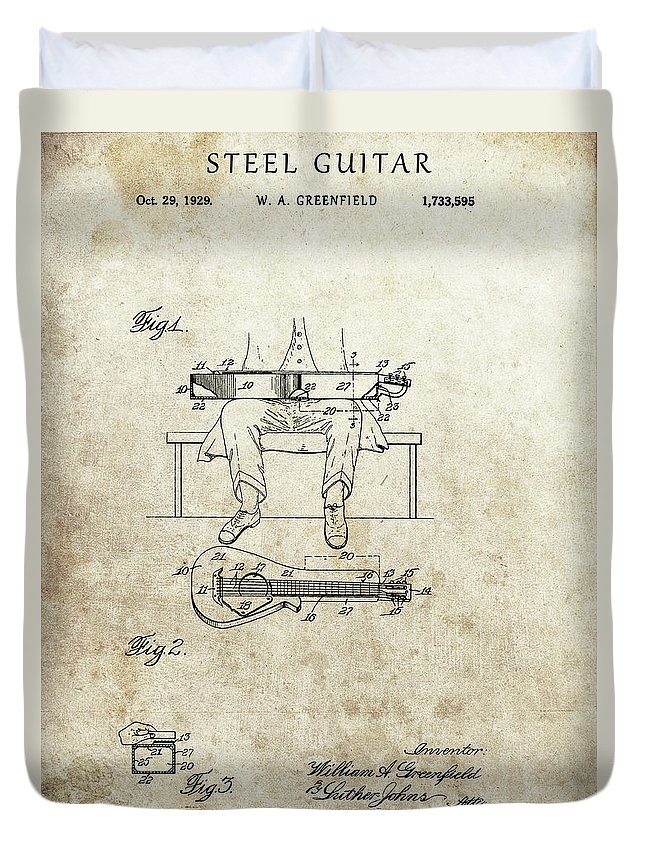 1929 Steel Guitar Patent Duvet Cover featuring the drawing 1929 Steel Guitar Patent by Dan Sproul