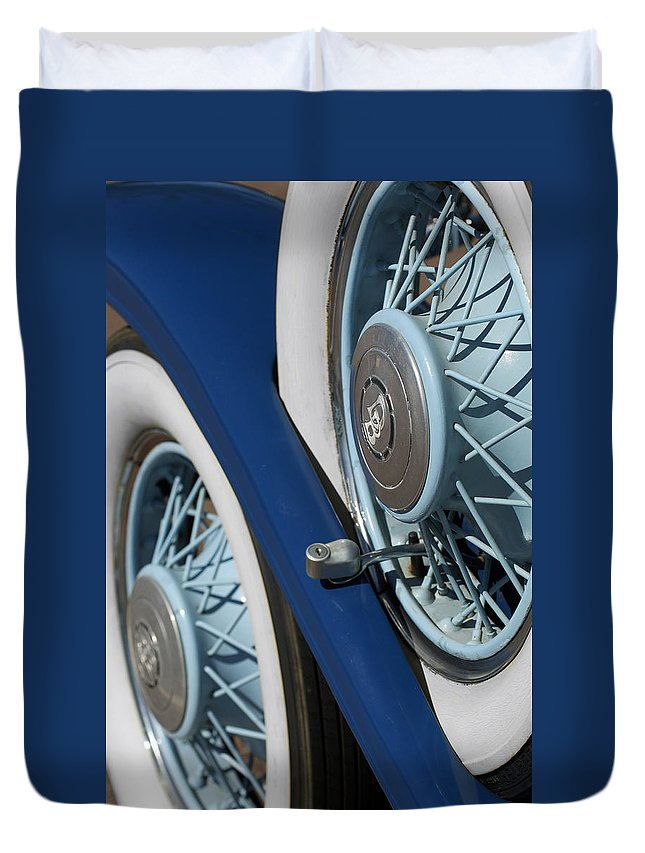 Car Duvet Cover featuring the photograph 1930 Db Dodge Spare Tire by Jill Reger