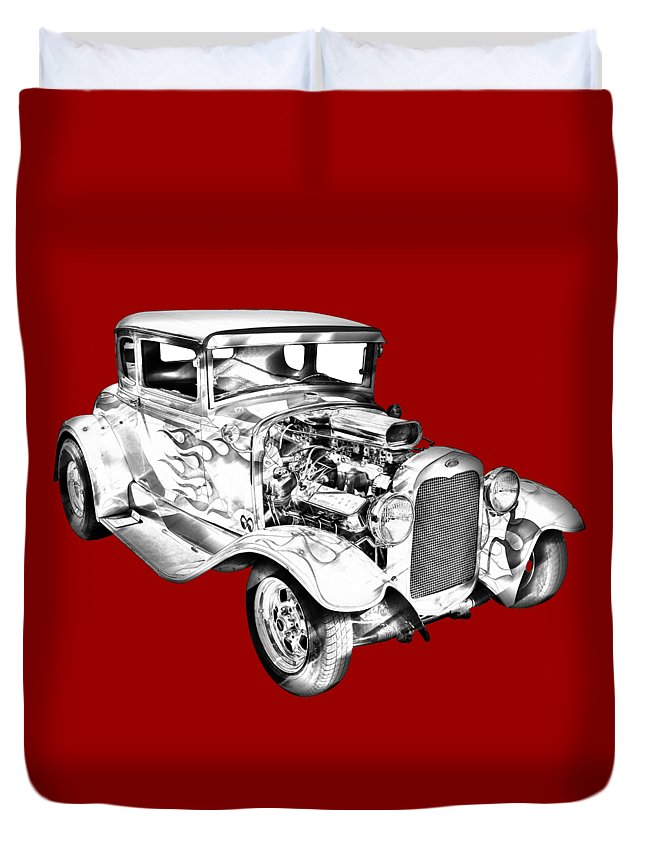 Automobile Duvet Cover featuring the photograph 1930 Model A Custom Hot Rod Illustration by Keith Webber Jr