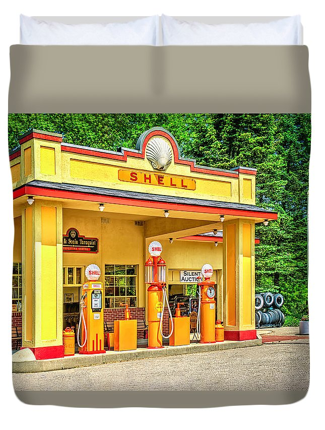 Antique Duvet Cover featuring the photograph 1930s Shell Gas Station by LeeAnn McLaneGoetz McLaneGoetzStudioLLCcom