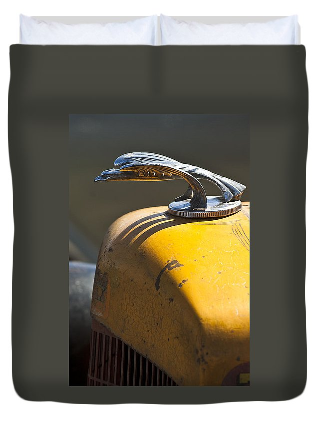1951 Ford Rat Rod Duvet Cover featuring the photograph 1931 Chevrolet Hood Ornament On A 1951 For Rat Rod by Jill Reger