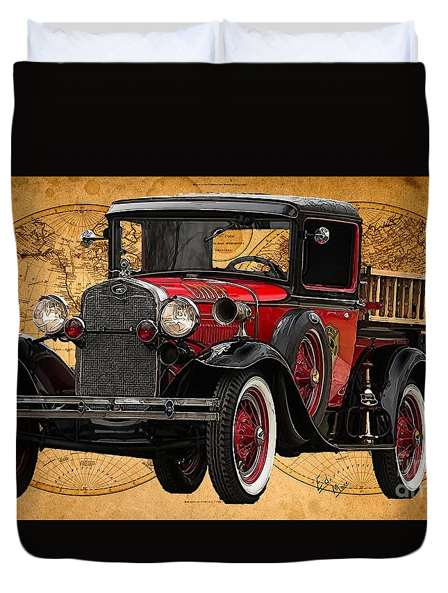 Ford Model A Duvet Cover featuring the painting 1931 Ford Model A Fire Truck by William Mace