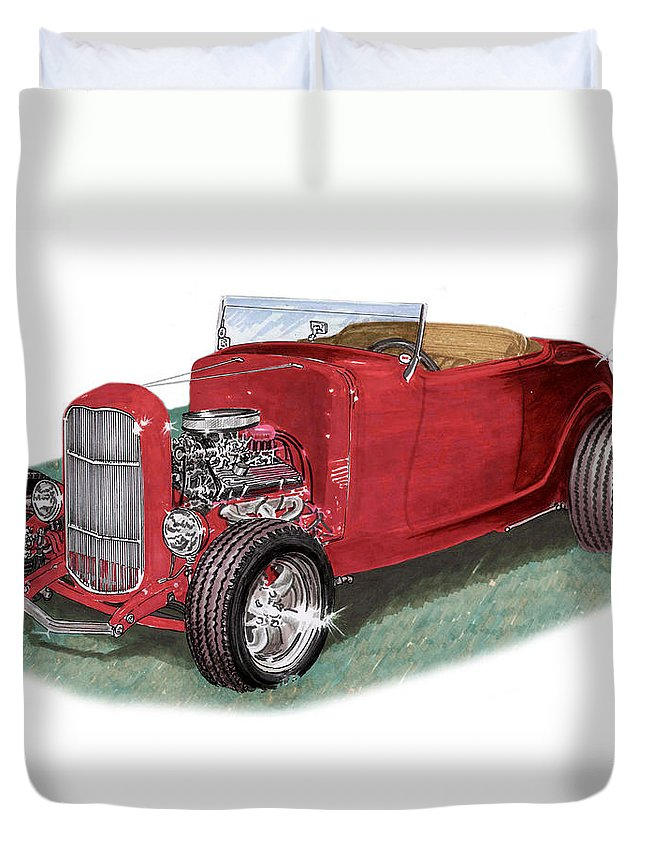 Images Of American Hot Rods. Images Of 1932 Ford High Boy Hot Rods. Framed Prints Of 1932 Ford High Boy Hot Rods. American Hot Rods Automotive Prints Duvet Cover featuring the painting 1932 Ford Hi-boy Hot Rod by Jack Pumphrey