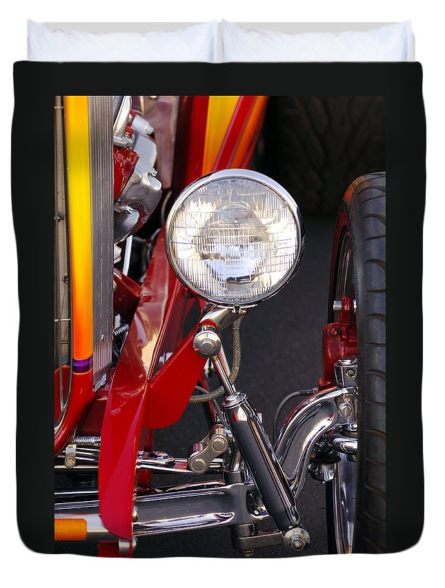 Car Duvet Cover featuring the photograph 1932 Ford Hi-boy Roadster Headlight by Jill Reger