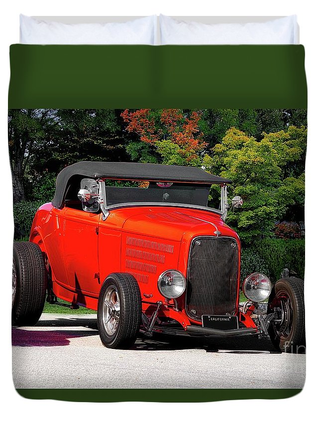Auto Duvet Cover featuring the photograph 1932 Ford 'ragtop' Roadster by Dave Koontz