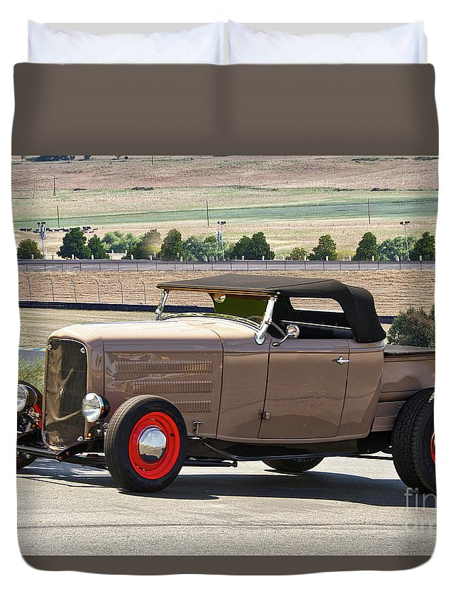 Auto Duvet Cover featuring the photograph 1932 Ford 'rare And Original' Roadster Pickup by Dave Koontz