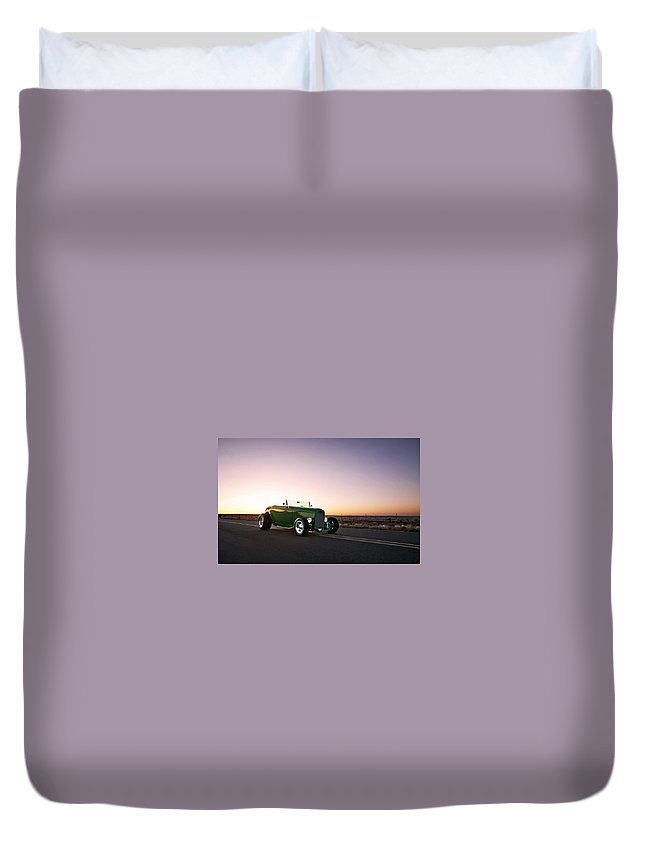 1932 Ford Roadster Duvet Cover featuring the digital art 1932 Ford Roadster by Dorothy Binder