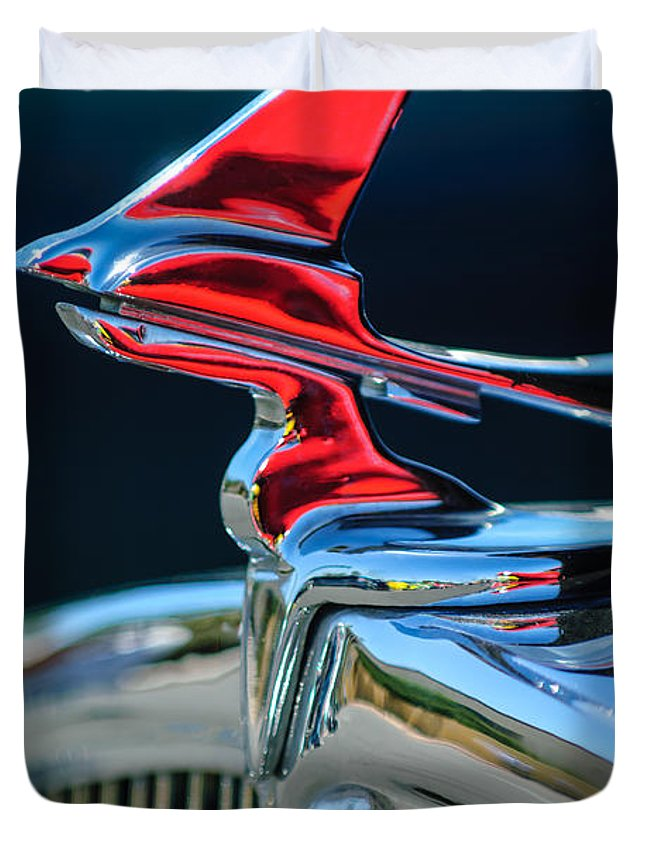 Car Duvet Cover featuring the photograph 1933 Franklin Olympic Hood Ornament by Jill Reger