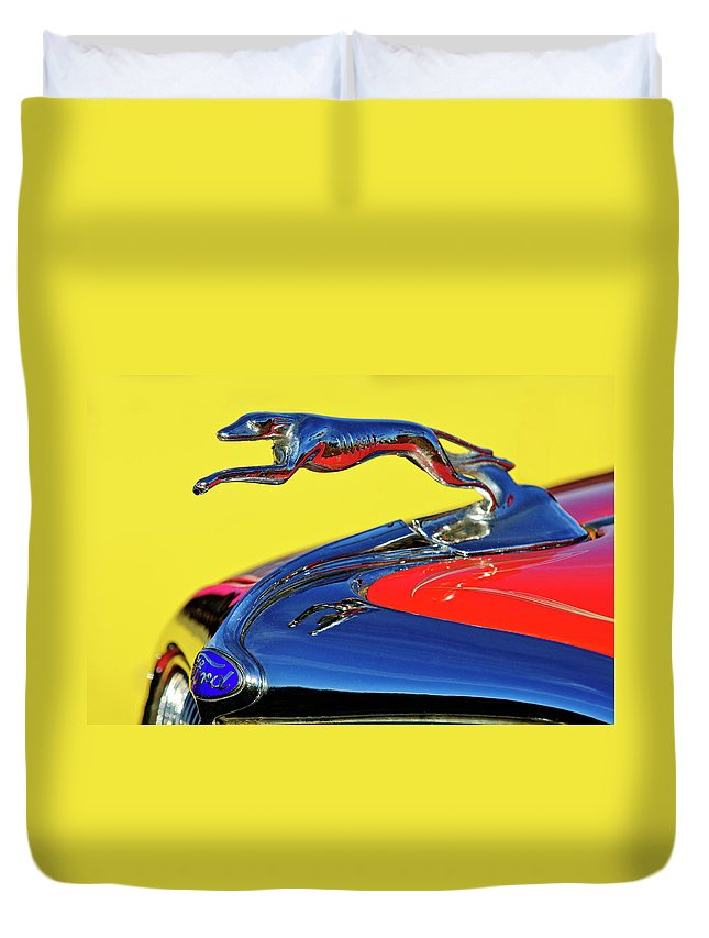 1934 Ford Duvet Cover featuring the photograph 1934 Ford Hood Ornament by Jill Reger