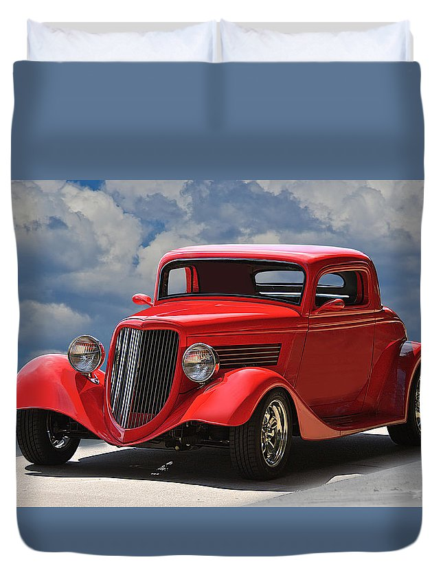 Auto Duvet Cover featuring the photograph 1934 Ford 'sherrys Cherry' Coupe by Dave Koontz
