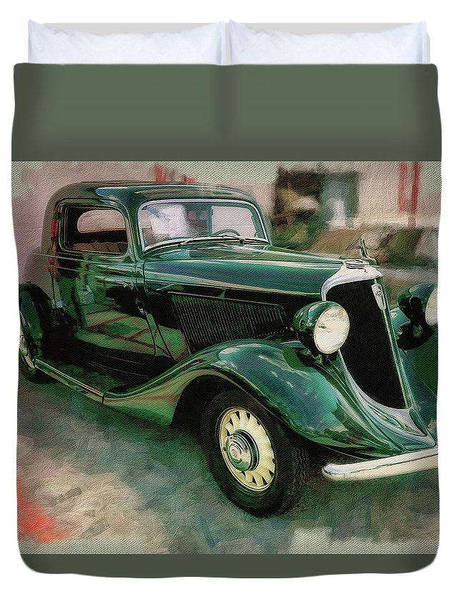 Car Duvet Cover featuring the photograph 1934 Studebaker Dictator by Rich Fiddelke