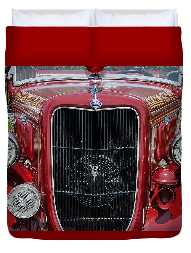 1935 Ford Seagrave Duvet Cover featuring the photograph 1935 Ford Seagrave by Susan McMenamin