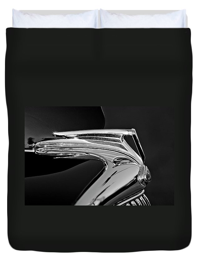 1935 Ford V8 Duvet Cover featuring the photograph 1935 Ford V8 Hood Ornament 5 by Jill Reger
