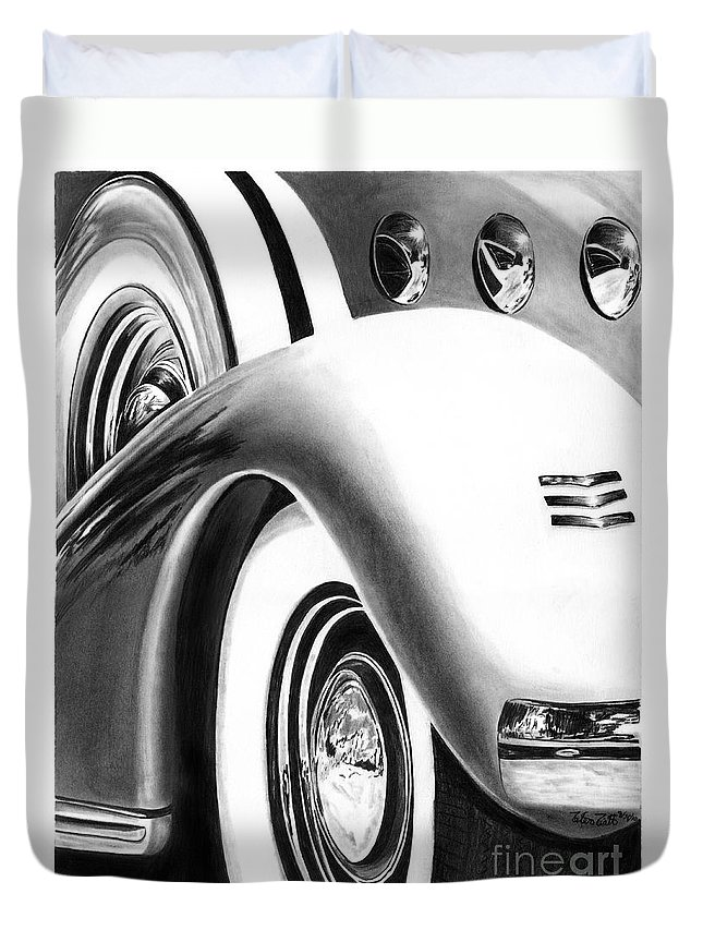 1935 Lasalle Abstract Duvet Cover featuring the drawing 1935 Lasalle Abstract by Peter Piatt