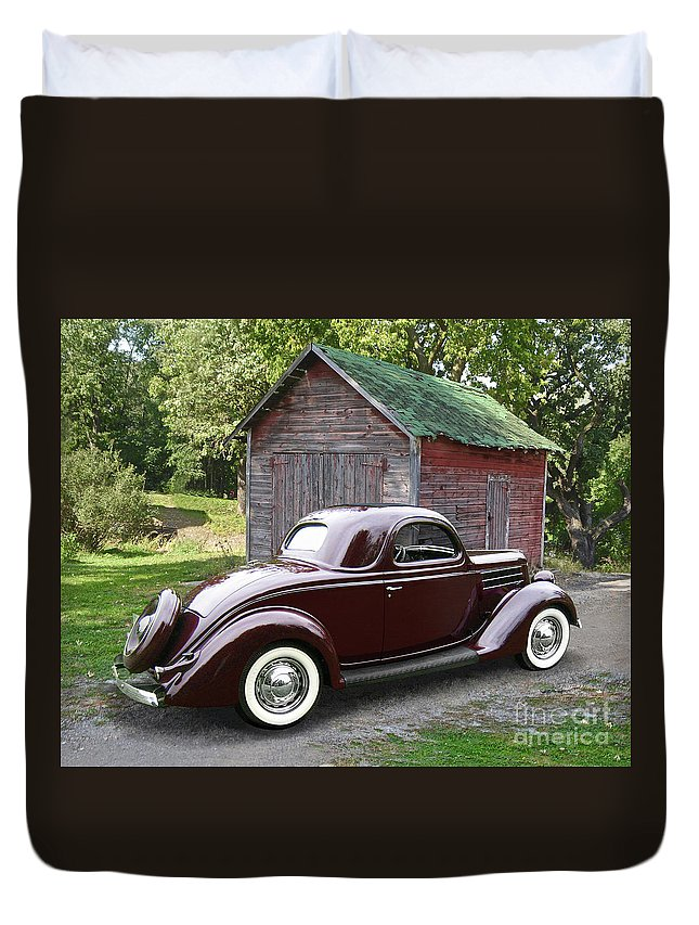 1936 Duvet Cover featuring the photograph 1936 Ford 3-window by Ron Long