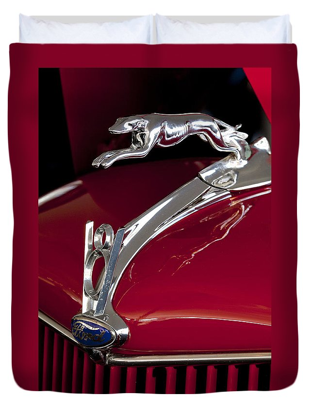 1936 Ford 68 Pickup Duvet Cover featuring the photograph 1936 Ford 68 Pickup Hood Ornament by Jill Reger