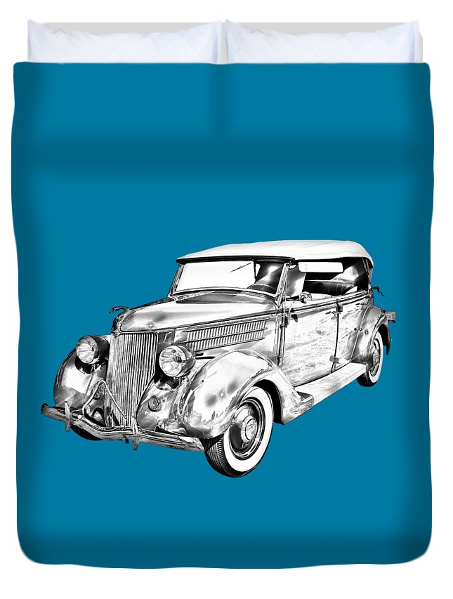 1936 Ford Phaeton Duvet Cover featuring the photograph 1936 Ford Phaeton Convertible Illustration by Keith Webber Jr