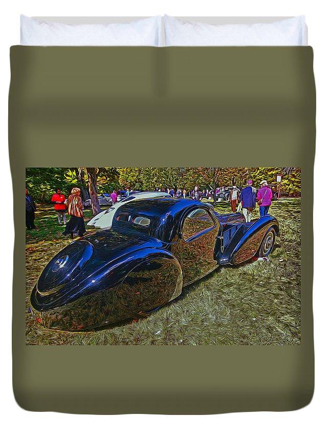 Bugatti Duvet Cover featuring the photograph 1937 Bugatti Type 57 S C Atalante Coupe by Allen Beatty