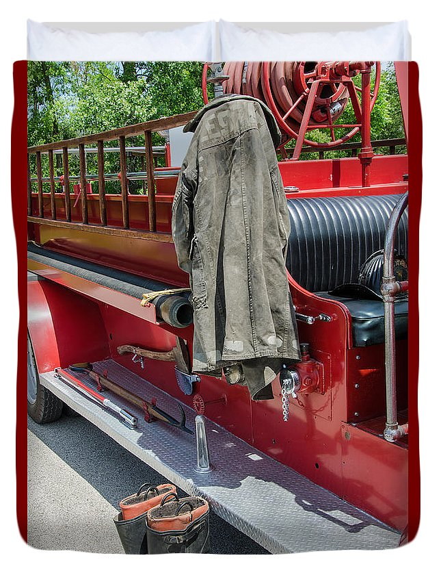 1937 Chevy Fire Engine Duvet Cover featuring the photograph 1937 Chevy Fire Engine by Susan McMenamin