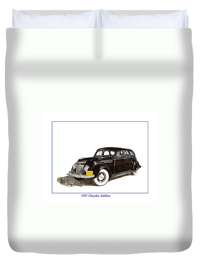 The Chrysler Airflow Duvet Cover featuring the painting 1937 Chrysler Airflow by Jack Pumphrey