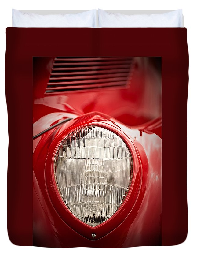 Ford Duvet Cover featuring the photograph 1937 Ford Headlight Detail by Onyonet Photo Studios