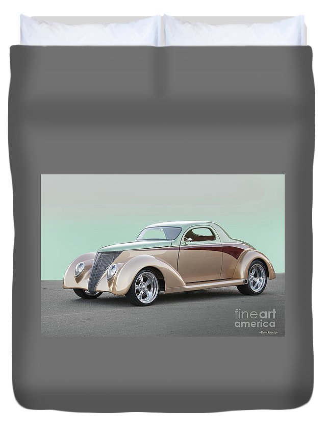 Auto Duvet Cover featuring the photograph 1937 Ford 'high End' Coupe I by Dave Koontz