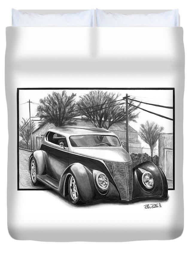 1937 For Sedan Duvet Cover featuring the drawing 1937 Ford Sedan by Peter Piatt