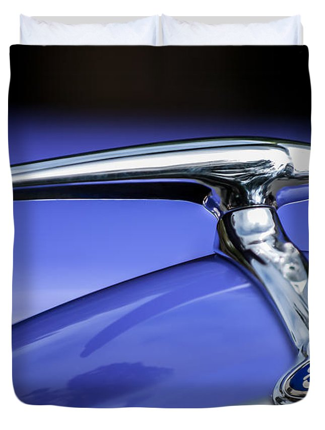 1938 Ford Coupe Duvet Cover featuring the photograph 1938 Ford Coupe Hood Ornament by Jill Reger