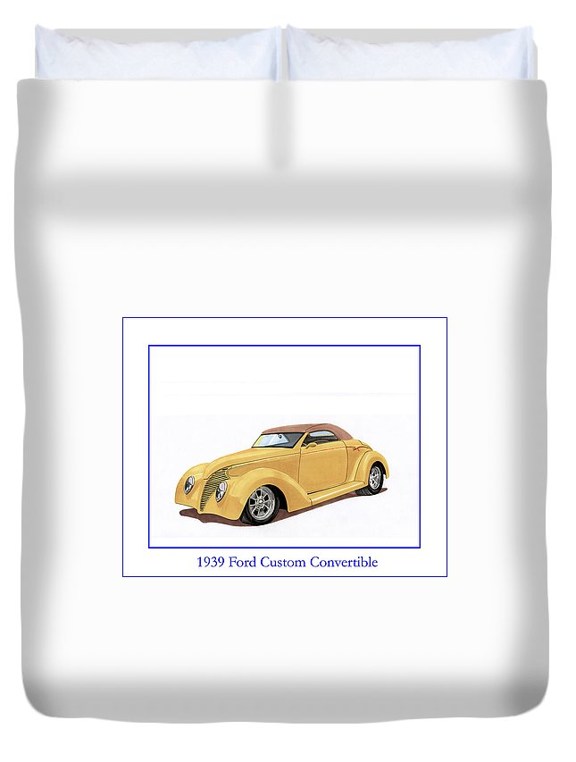 Automotive Prints Duvet Cover featuring the painting 1939 Ford Custom Street-rod Convert by Jack Pumphrey
