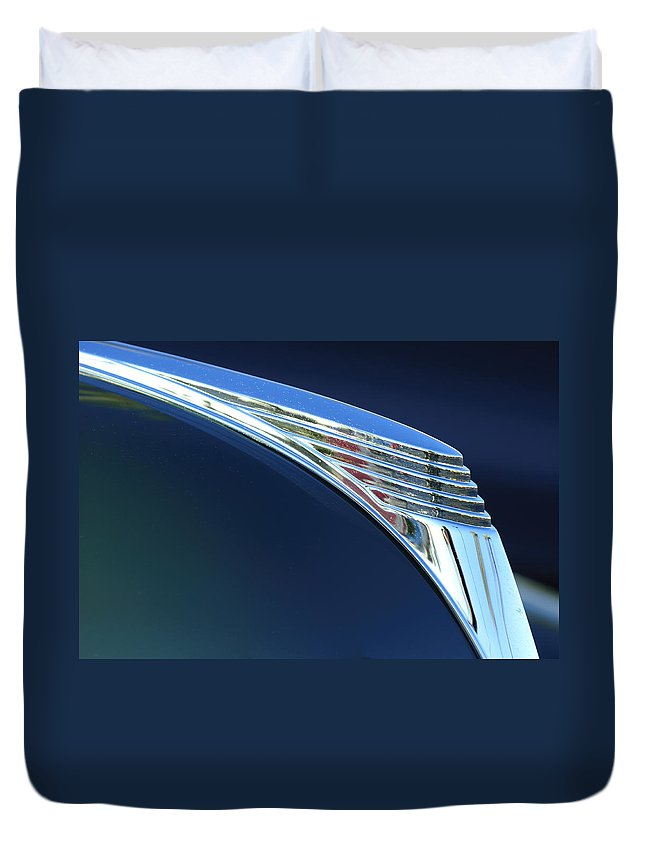 1939 Ford Deluxe Duvet Cover featuring the photograph 1939 Ford Deluxe Hood Ornament by Jill Reger