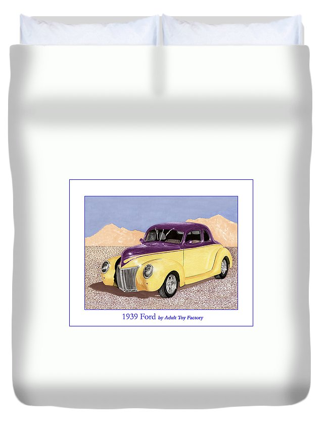 Automotive Prints Duvet Cover featuring the painting 1939 Ford Deluxe Street Rod by Jack Pumphrey