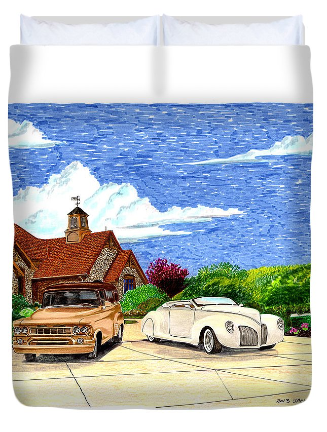 Silent Auction Winner Duvet Cover featuring the painting 1939 Lincoln Zephyr Family Home by Jack Pumphrey