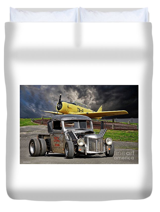 Auto Duvet Cover featuring the photograph 1940 Ford Rat Rod Pickup IIi by Dave Koontz