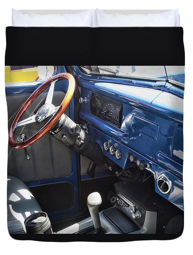 Vehicle Duvet Cover featuring the photograph 1940 Ford Truck Interior by Alana Thrower
