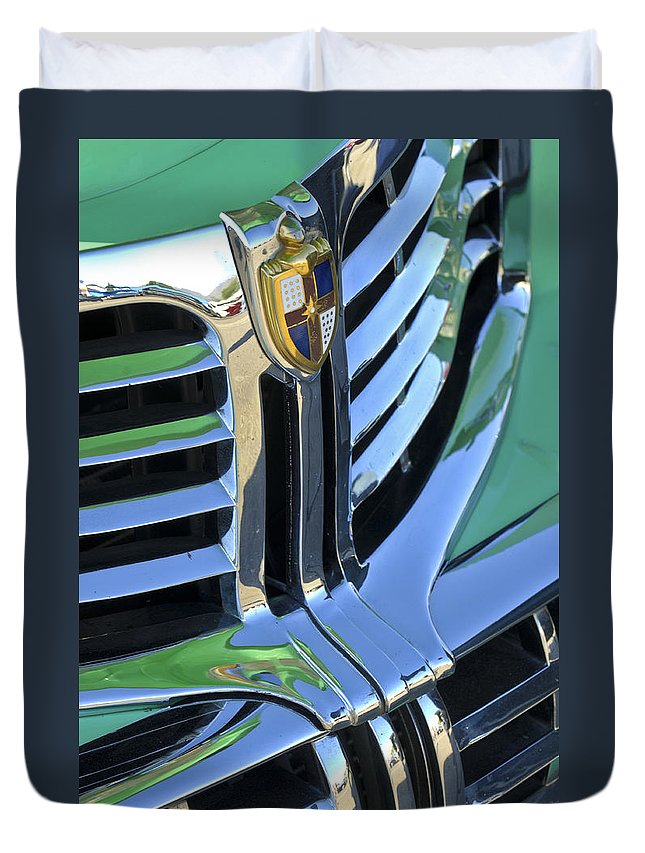 1940's Lincoln Duvet Cover featuring the photograph 1940's Lincoln Hood Emblem by Jill Reger