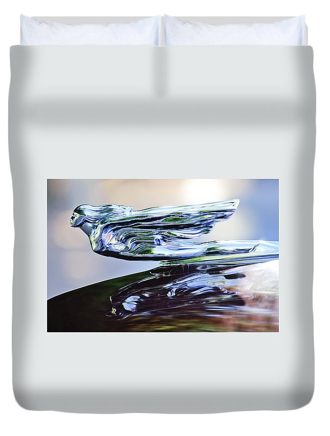 1941 Cadillac Duvet Cover featuring the photograph 1941 Cadillac Hood Ornament 2 by Jill Reger