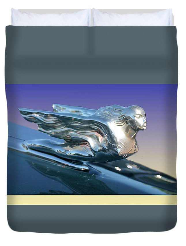 Prints Of Classic Cadillac Mascots. Framed Prints Of Cadillac Mascots. Framed Prints Of Cadillac Hood Ornaments Duvet Cover featuring the photograph 1941 Cadillac Mascot by Jack Pumphrey
