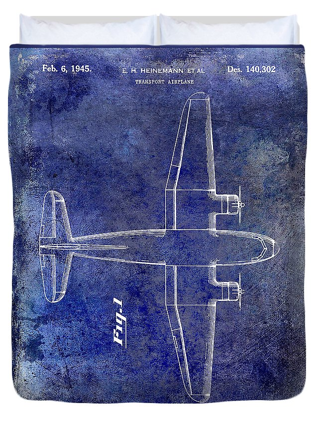 1955 Airplane Patent Duvet Cover featuring the photograph 1945 Transport Airplane Patent Blue by Jon Neidert