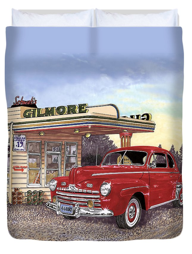 1946 Ford Deluxe Coupe Art Duvet Cover featuring the painting 1946 Ford Deluxe Coupe by Jack Pumphrey