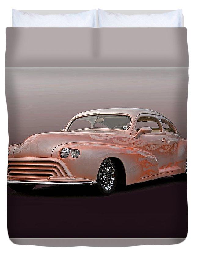 Auto Duvet Cover featuring the photograph 1946 Oldsmobile 'custom' Sedanette 'studio' by Dave Koontz